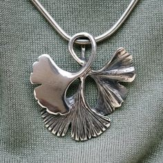 Ginko leaf sterling silver pendant. by SetzerSilverDesign on Etsy, $135.00