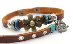 Leather Wrap Bracelet with Bronze Flower, Charm and Wood | AyaDesigns - Jewelry on ArtFire