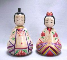 遠刈田系伝統こけし佐藤良子作こけしのお雛様「ひなこけし」  Emperor and Empress Dolls