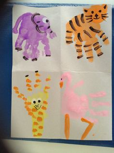 Dr Seuss- put me in the zoo handprint animals
