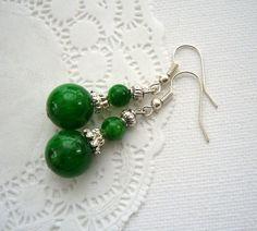 Handmade Fashion Jewelry Green Jade Dangle by CraftsbySigita on Etsy