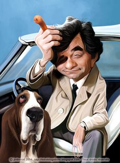 Peter Falk: Lt. Columbo & his dog (Caricature) Dunway Enterprises - http://www.learn-to-draw.org/caricatures_clb.html?hop=dunway