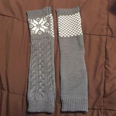 LEG WARMERS/BOOT SOCKS! I've never warn these but when I ripped the tag off, I snagged them and got a hole in one. Me not being able to sew is your gain! The snowflakes on the top of rhinestones and the cover picture is the front and the back. Accessories Hosiery & Socks