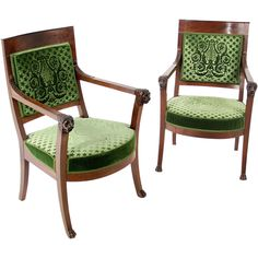 Pair of French Empire mahogany elbow chairs. Attributed toJean-Baptiste-Bernard Demay  France ca 1810