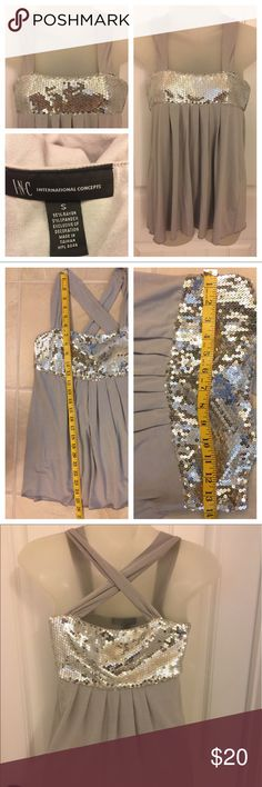 🌜🌟Night Out🌜🌟 INC International Concepts. Top. Size S. Sequin accents. Crisscross straps in the back. Pre-owned in good condition with no known tears snags or stains. Comes from smoke free and clean home. Thanks!! INC International Concepts Tops