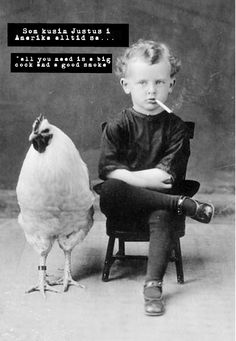 Vintage photo boy with chicken rooster smoking child print poster weird unusual strange black and white wall decor antique odd bizarre Vintage Pictures, Old Pictures, Funny Pictures, Crazy Pictures, Funny Pics, Funny Shit, Spooky Pictures, Funny Stuff, Hilarious Photos