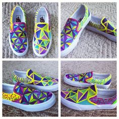 Colorful custom hand painted vans shoes. Geometric, zebra print, cheetah print. Purple Blue, Green, Yellow, Teal.