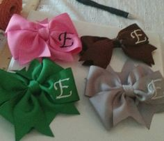 Check out this item in my Etsy shop https://www.etsy.com/listing/247237678/custom-embroidered-set-of-bows