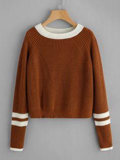 Полосатый контраст Trim Cable Sweater