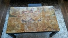 Map decoupage table painted with coffee