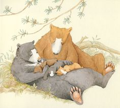 Anita Jeram ~ Family (and one sweet pine cone) Anita Jeram, Love Bear, Children's Picture Books, Bear Art, Children's Book Illustration, Whimsical Art, Cute Pictures, Sketches, Drawings