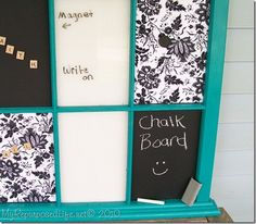 Turn an old window into the prefect memo board! Some colored spray paint for the frame, Magnetic Primer, Chalkboard paint and whatever else you can think of! The possibilities are endless! http://www.rustoleum.com/product-catalog/consumer-brands/specialty