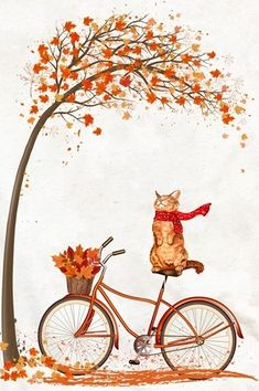 Celebrate Each New Day - Katzenrassen Beautiful Cats Bike Illustration, Autumn Illustration, Autumn Crafts, Autumn Art, Autumn Scenery, Fall Wallpaper, Bike Art, Cat Drawing, Fall Halloween