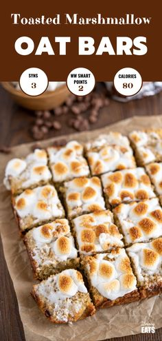 Toasted Marshmallow Chocolate Banana Oat Bars - the perfect recipe for overripe bananas sitting in your fruit bowl and a treat that the whole family will love. Marshmallow Desserts, Recipes With Marshmallows, Toasted Marshmallow, Banana Bars, Oat Bars, Banana Dessert Recipes, Oats Recipes, Ripe Banana Recipe, Slimming World Desserts