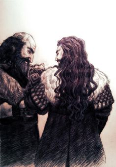 Mister Dwalin and Uncle Thorin. Together, they're the craziest pair. Crazier that Kili and I. Hobbit Art, O Hobbit, Thorin Oakenshield, Kili, Jrr Tolkien, Fan Art, Middle Earth, Lord Of The Rings, Lotr