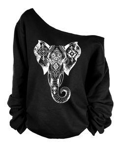 Elephant print oversized off shoulder raw edge  sweatshirt by printopia1225 on Etsy