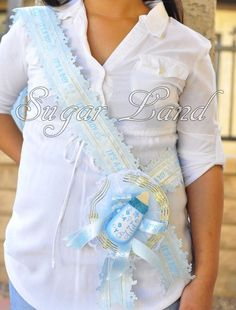 Baby Shower Mother Mom To Be It s A Boy Blue Sash Banner Handmade Ribbon Favors
