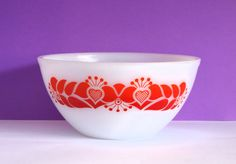 Vintage Retro Crown Agee Pyrex Folk Art Red & Orange by FunkyKoala