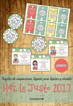 """ACOMPAÑAMIENTOS PARA LA PRIMARIA 2017 """"Haz Lo Justo"""" Tarjetas de asignaciones para el Tiempo para Compartir, toppers para lápices y círculos ¡Gratis!"""