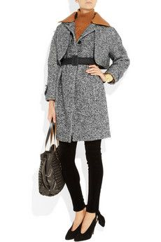 Leather Collar Tweed Coat