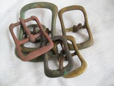 Vintage weathered horse bridle buckles (set of 6) / brass and steel horse hardware / Rusty Horse tack bridle belt buckles - pinned by pin4etsy.com