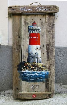 Lighthouse of the Black Stones - wood & driftwood (1m10 x 60cm / large format!) Acrylic. | Valerie Snow