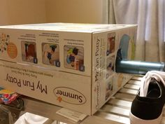 Mom sticks a flashlight in an empty box for this shocking bedroom idea...I love that she used a 'my fun potty' box!