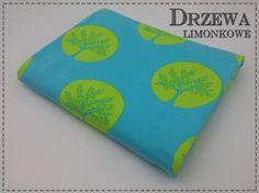 JERSEY - drzewa limonkowe na błękicie, 195 g/m2, szer. 150 cm