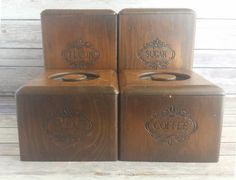 Wooden kitchen canisters vintage primitive rustic RTS