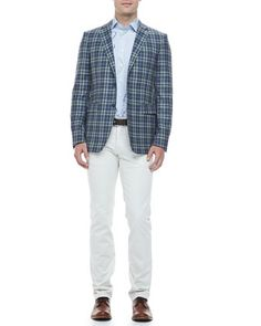 Large+Paisley+Sport+Shirt,+Blue+and+Green+Plaid+Blazer+&+Five-Pocket+Stretch+Denim+Jeans+by+Etro+at+Neiman+Marcus.
