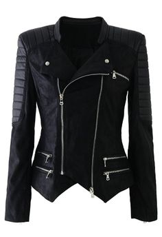 Faux Leather Zip Quilt Motocycle Jacket