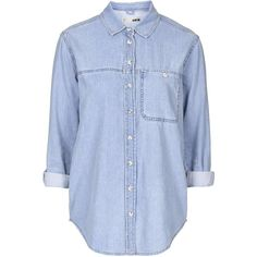 TopShop Moto Oversized Denim Shirt found on Polyvore featuring tops, shirts, blouses, camisas, bleach, topshop, oversized shirt, topshop shirt, topshop tops and button front shirt