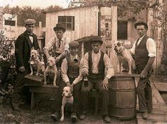 group of young men with their dogs c. early 1900's