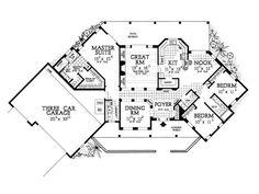 House Plan 90211 - Santa Fe, Southwest Style House Plan with 2015 Sq Ft, 3 Bed, 3 Bath, 3 Car Garage Best House Plans, Dream House Plans, Small House Plans, House Floor Plans, Home Design Floor Plans, Plan Design, Design Ideas, Hacienda Homes, Santa Fe Style