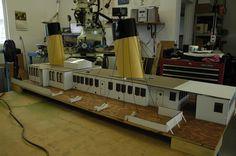 Model of the Titanic, over long! Titanic Model, Light Up, Deck, Home Appliances, House Appliances, Kitchen Appliances, Decks, Appliances, Decoration