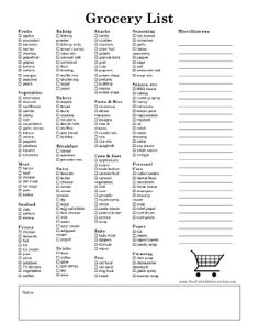 this detailed printable grocery list is a full page in size and lists many commonly purchased