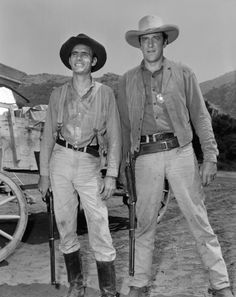 Marshall James Dillon (James Arness) and his early side-kick Chester (Dennis Weaver) in the classic long-running Gunsmoke.