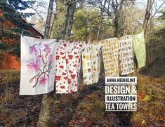 Tea towels hanging outside of my gallery on the farm!
