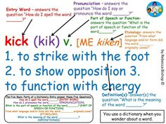 Dictionary Entry Anchor Chart - for more exciting dictionary skills activities, task cards, and lessons, visit the Delightful Daily Deals TpT Store: http://www.teacherspayteachers.com/Store/Delightful-Daily-Deals