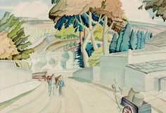 Eyam, Derbyshire by Harry Epworth Allen 1936 Landscape Art, Landscape Paintings, Landscapes, See Photo, Photo Art, Art Uk, Derbyshire, Your Paintings, Grid