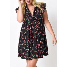 Graceful V-Neck Sleeveless Chiffon Tiny Cherry Print Dress For Women