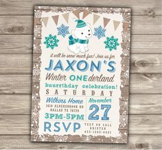 Boy Winter Invitations Polar Bear Birthday Party Our by cardmint