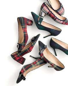 """J.Crew women's made-in-Italy heels. You could wear these with an """"I hate the holidays"""" T-shirt and still be the most festive person in the room. Sock Shoes, Cute Shoes, Me Too Shoes, Shoe Boots, Shoes Sandals, Tartan Shoes, Plaid Heels, Tartan Plaid, Tartan Fashion"""