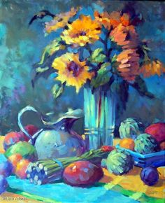 """Fruit and Flowers by Trisha Adams Oil ~ 30"""" x 24"""""""
