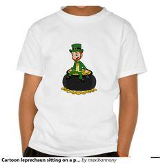 Cartoon leprechaun sitting on a pot of gold t shirt