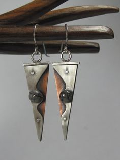 Mixed Metal Riveted Picasso Jasper Triangular by AmorphicMetals, $50.00