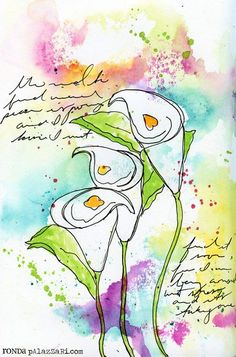 RondaPalazzari calla lilies Art Journal - step by step