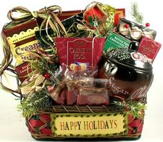 Here's to the Holidays! | Elegant Christmas Gift Basket of Gourmet Foods - http://www.specialdaysgift.com/heres-to-the-holidays-elegant-christmas-gift-basket-of-gourmet-foods-2/