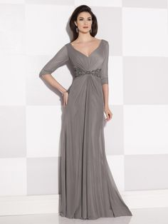 Cameron Blake - 214694 - Stretch mesh A-line dress features elbow-length sleeves trimmed with hand-beading, modified V-neckline, deep V-back neckline, center front gathered bodice with beaded empire waistline, sweep train, suitable for the mother of the bride or the mother of the groom. Embellish by David Tutera earring style Abby Vine and bracelet style Riley sold separately.Sizes: 4 – 20, 16W – 26WColors: Smoke, Royal Blue, Black, Purple