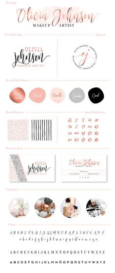 Premade Branding Kit Photography Logo Set Watermark. Rose gold, pink, vanilla beige and black hues. Classy, modern and elegant makeup artist brand. Includes social media icons, patterns and double sided business card design